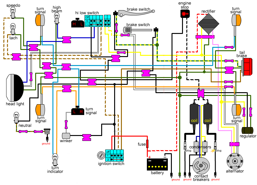 wiring diagram for a cb360 with only kick start | do the ton  do the ton
